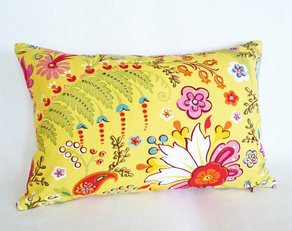 Bright Yellow Decorative Pillows : Bright Yellow Pillow Whimsical Pillows Covers by PillowThrowDecor