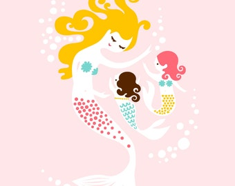 """8X10"""" mermaid mother & two baby daughters giclee print on fine art paper. light pink, turquoise, yellow, blonde, pink, dark brunette hair"""