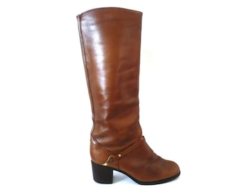 FRench Vintage Brown Leather Equestrian Boots