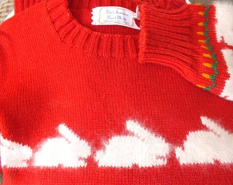 Adorable Bunny Sweater  AWESOME Little girls wool sweater for Easter RED with WHITE bunnies