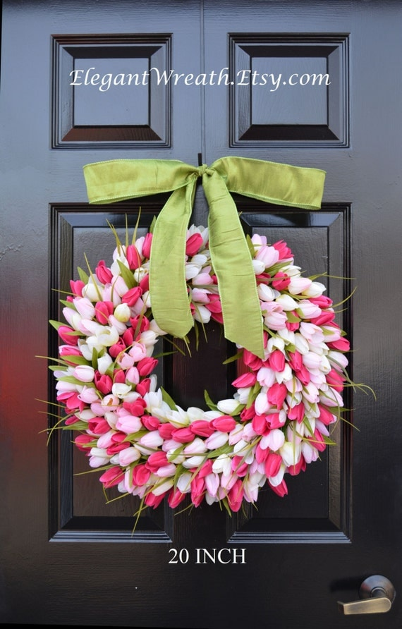 Custom Spring Wreath- Pink Tulip Wreath- Mother's Day Wreath- Valentine's Day Wreath