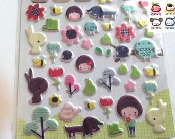 Sticker, rabbit, bunny, woods, garden, girl, boy, animals stickers, animals sticker, animal stickers, brown, pink, cute, cartoon, colorful
