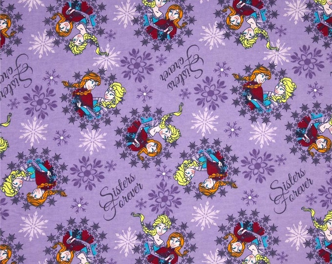 Childrens Fabric from Disney Frozen Sisters Ice Skating  Cotton Flannel fabric by Springs Creative