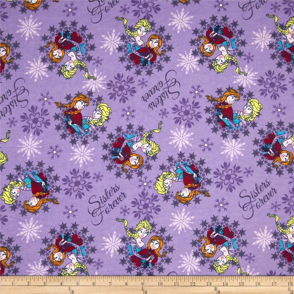 Childrens fabric from disney frozen sisters ice skating for Childrens cotton fabric by the yard