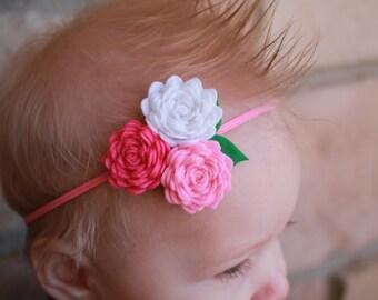 0-6 mo Baby felt flower headband on skinny elastic, felt flowers, felt bow, skinny headband, skinny bow, baby bow, baby headband, pink baby