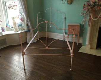 custom order shabby chic twin bed frame cast iron pink distressed antique twin chalk paint