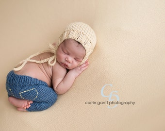 Newborn Knit Handmade Wool Baby Jeans and Bonnet Set Made to Order