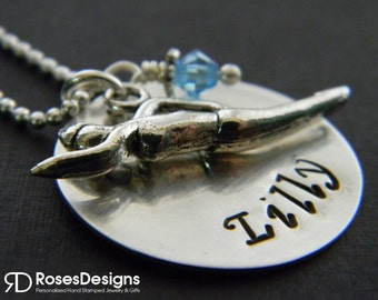 Personalized Swimmer Necklace, Handstamped Necklace, Swim, Swimmer, Water Polo, by RosesDesigns