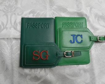 Leather Passport Cover with Personalized Leather Luggage Tag in Green