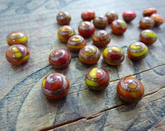 Vintage Cabochon Red Yellow Goldstone Lampwork Glass Button Cabochon (4)