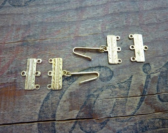 Vintage 3 to 1 Gold Link Clasp Finding (2 sets) XC201