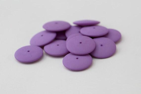 Vintage Lucite Purple Matte Lucite Spacer Disc  Beads 18mm (12)