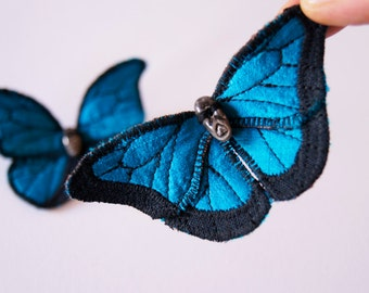 SALE Blue Morpho Textile Butterfly Statement Brooch Natural History Woodland Fashion Nature Lover Gift Entomology