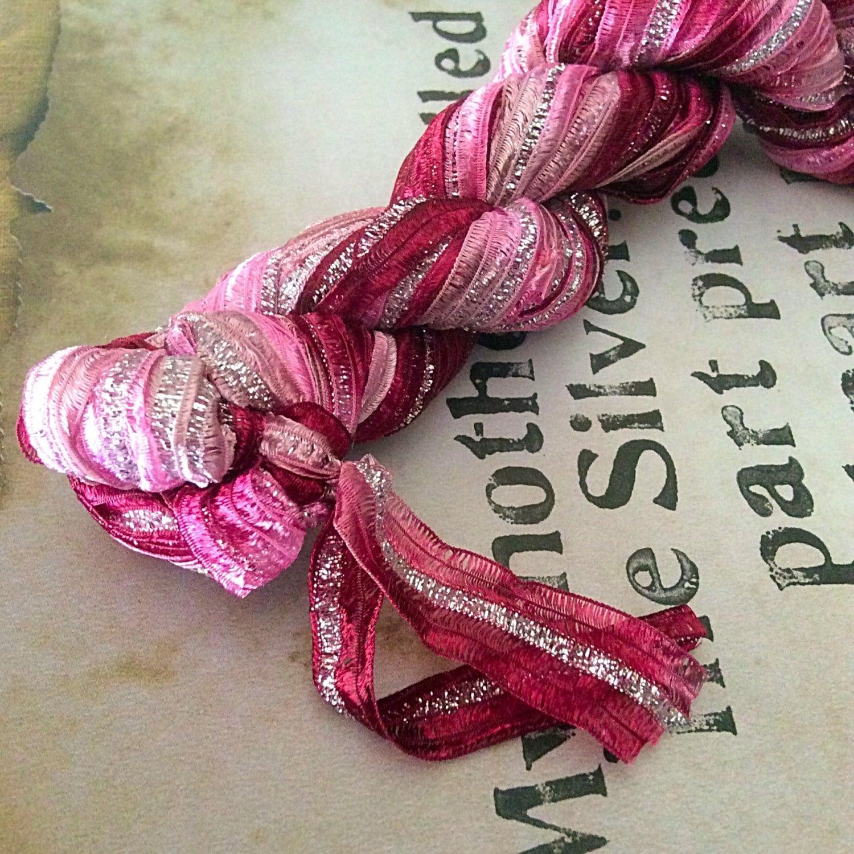 Nylon Knitting Ribbon : Hand dyed nylon ribbon for knitting crochet weaving felting