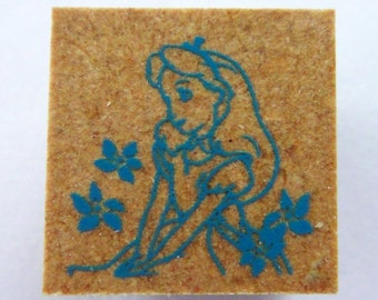 Alice In Wonderland Alice With Flowers Japanese Rubber Stamp