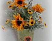 Sage green wall pocket with Sunflowers