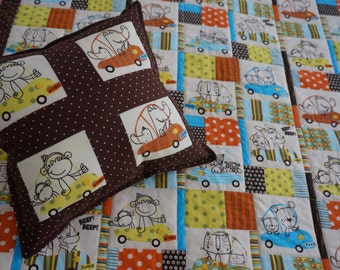 Baby Quilt and Pillow with Alligators, Owls, Dogs, Cats and Monkeys Riding in Cars