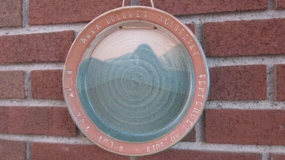 Personalized Handmade Ceramic Birth Plate - Baby Gift - Custom Made - Stamped