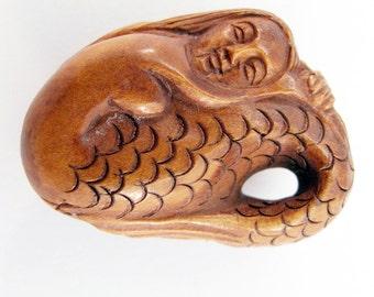 Mermaid Hand-Carved Boxwood Ojime Bead