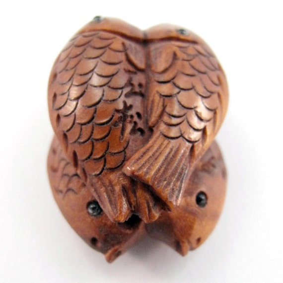 Four fish hand carved boxwood ojime bead great for
