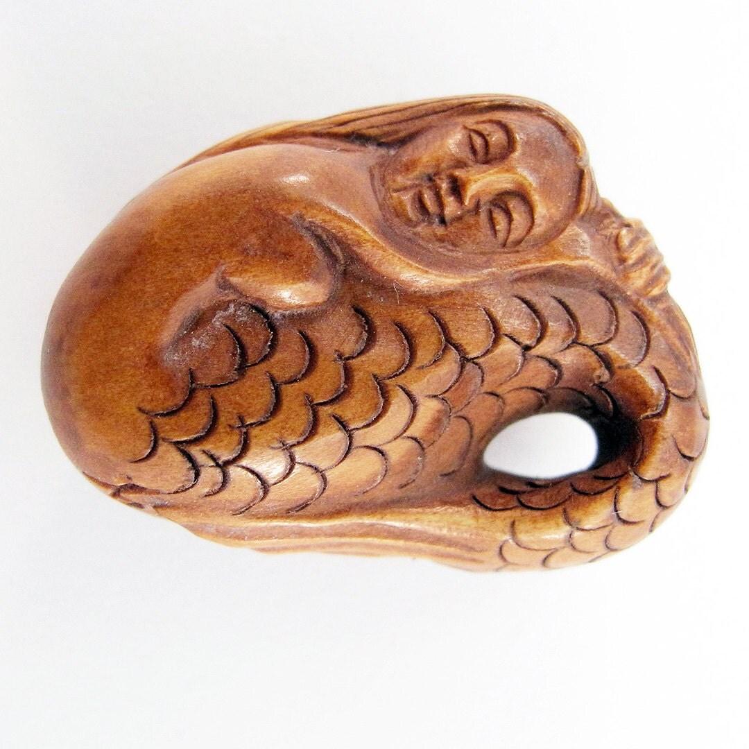 Mermaid hand carved boxwood ojime bead