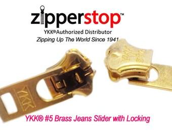 Jeans Zipper Slider, YKK #5 Jeans Brass Slider with Locking by each