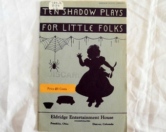 Vintage book Shadow Plays for children instructional playtime school 1930s