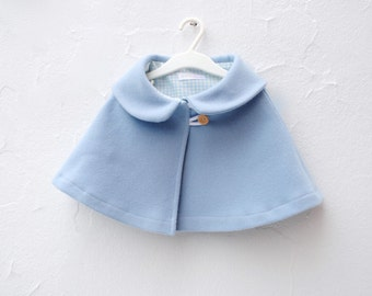 Wool Cape in Pastel Blue with Peter Pan Collar- Girls Clothing- Spring Fashion- Easter