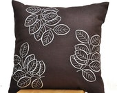 Brown Pillow Cover, Throw Pillow Cover, Decorative Pillow, Embroidered Pillow, Dark Brown Linen Off White Leaves Embroidery,