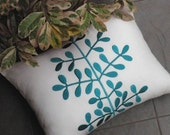 Leaves Pillow Cover, Accent Pillow, Decorative Throw Pillow, White Linen, Turquoise Leaves, Embroidered, Toss Pillow, Cushion, Couch Pillow