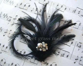 SWING CLIP - Great Gatsby Fascinator Smoky Gray Jewel Crystal Black Cocktail Clip