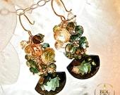 Vert de Fantaisie - Stunning deep green amethyst, quartz and champagne citrine glamour earrings