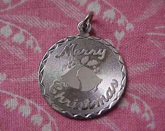 Vintage Sterling Merry Christmas Bells Disc Charm