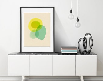 Large Minimalist Art, Large Art Print, Modern Wall Art, Watercolor Painting Print, Yellow, Teal