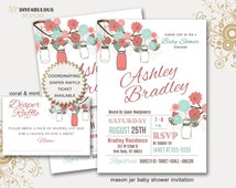 Rustic Mason Jar Baby Shower Invitation Mason Jar Baby Shower Invitation Printable Baby Shower Invitation Vintage Shower Invitation Vintage
