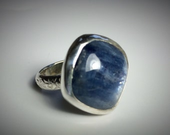 Sterling silver and kyanite ring