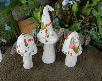 Fariy Garden Mushrooms Ceramic 3 red green Pixie Top   Mushroom Toadstool  Statues  Home Grown Ceramic  Shrooms -  muscaria fly Hand Sculpt