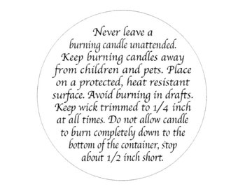 """120 Candle BURN WARNING  Stickers  ~ Size 1-2/3"""" Circle ~Choice of Colors"""