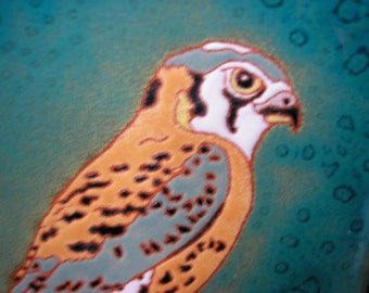 Kestrel bird tile in the arts and crafts style , bird of prey tile for the birder, kitchen, bath, fireplace surround or framed