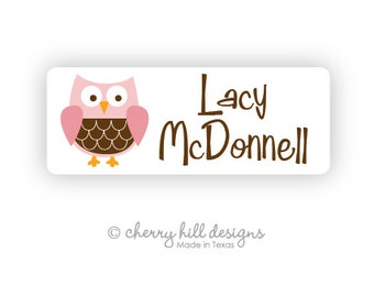 OWL Iron-on clothing and fabric labels - set of 42 (smallest set) - several template options