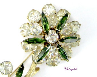 Brooch Rhinestone Green Tiered Floral Gold tone Fall