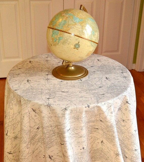 Round Map Tablecloth - Air Traffic Travel Natural Felix - Home, Wedding, Banquet, Party, Holiday - Choose Size