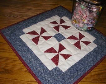Quilted Table Runner, Americana Runner, Patriotic Runner, Navy and Burgundy, 17 x 17 inches