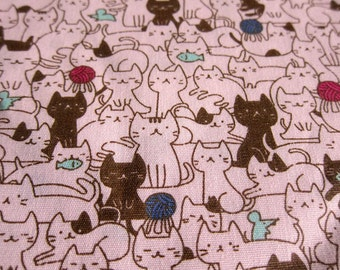 Animal Print Fabric - Cat Mosaic Fabric - Cotton Fabric By The Yard - Half Yard