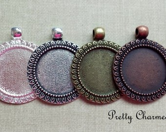 20 Blank Pendant Trays 1 Inch / 25 mm Round Filigree Edge Choice of Colors