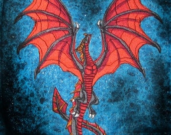 HUGE Flying Wyvern Dragon Black and Red Iron on Patch
