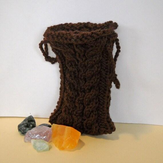 Knit Pattern Tarot Bag : Brown Tarot Bag Rune Bag Knit Pouch