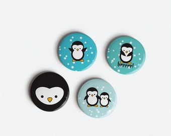Cute Penguins 1 inch Magnet set of 4 chilly cute penguins