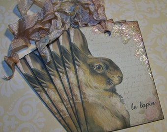 Easter Tags Rabbit Tags Le Lapin French Vintage Style Tags - Set of 6