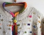 1990s Sweater Vintage Wool Bolivia Boho Hippie Colorful Top